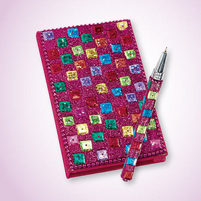 Fuchsia Snazzy Sequined Notebook & Pen Set