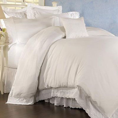 White Royal Lace Duvet Cover & Sham