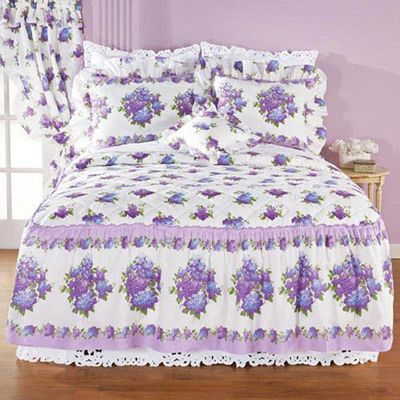 Lilac Floral Quilted Bedspread & Accessories