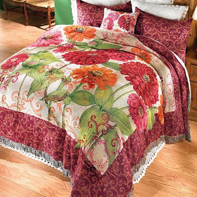 Zinnia Garden Tapestry Coverlet & Accessory