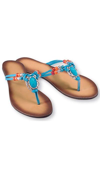 Faux Turquoise Medallion Sandals