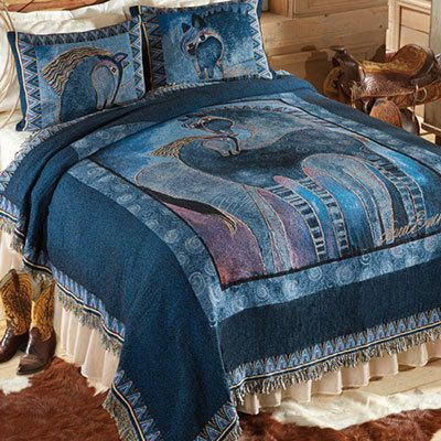 Indigo Mares Tapestry Coverlet & Accessory