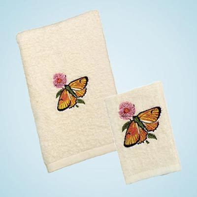 Embroidered Butterfly Bouquet Towels