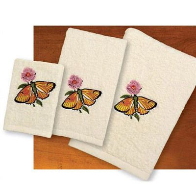 Embroidered Butterfly Bouquet - Towel Set