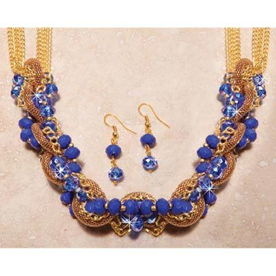 Blue Bead & Golden Mesh Jewelry Set