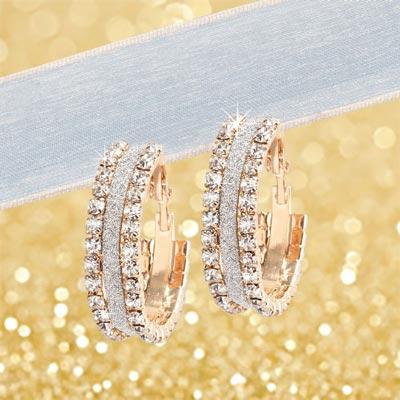 Golden Crystal Earrings