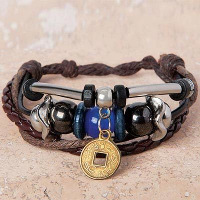 Lucky Coin Leather Bracelet