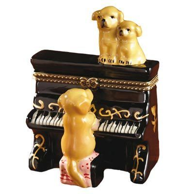 Porcelain Dog Trinket Box - Piano Pups