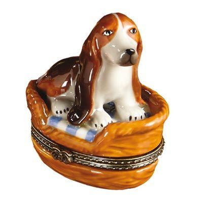 Porcelain Dog Trinket Box - Basset