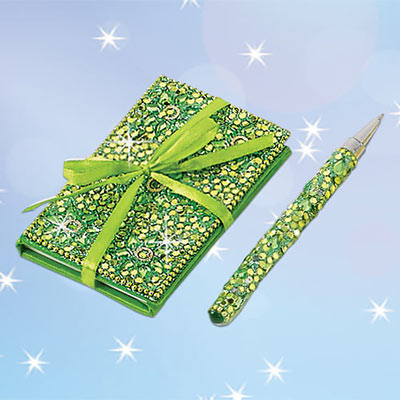 Green Bejeweled Notebook & Pen Set