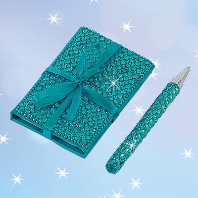 Aqua Bejeweled Notebook & Pen Set