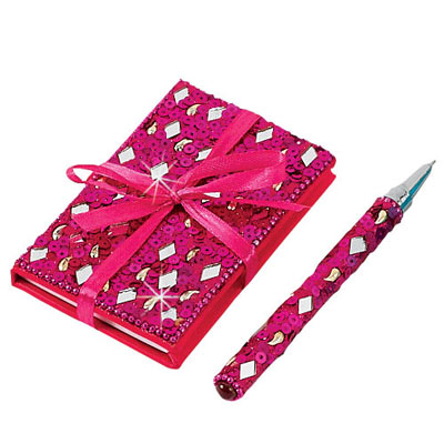 Fuchsia Bejeweled Notebook & Pen Set