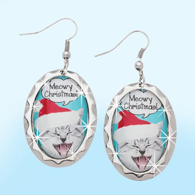 Meowy Christmas Earrings
