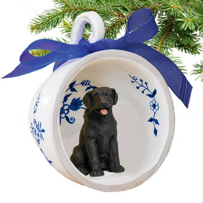 Black Lab Teacup Ornament