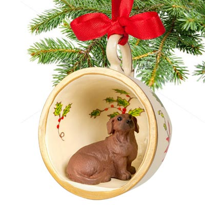 Red Dachshund Teacup Ornament
