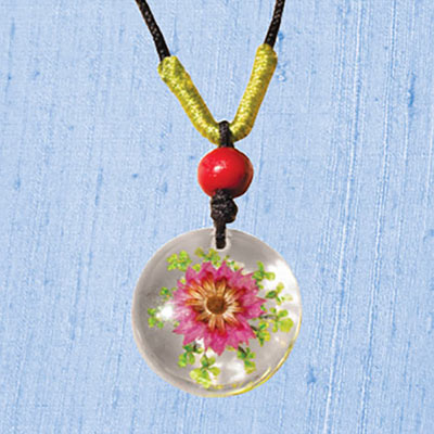 Pink Flower in Acrylic Necklace