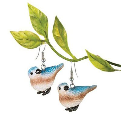 Hand Painted Blue Bird Earrings
