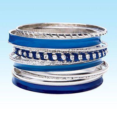 Blue & Silver Bangles