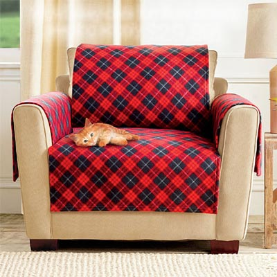 Red Plaid Pet Loveseat Cover