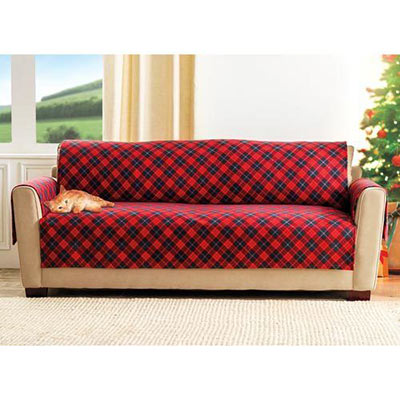 Red Plaid Pet Chair Cover