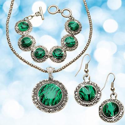 Malachite Jewelry Set