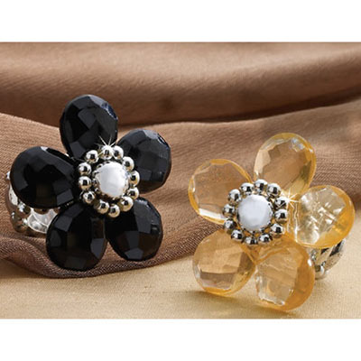 Jet Black Flowery Adjustable Glam Ring