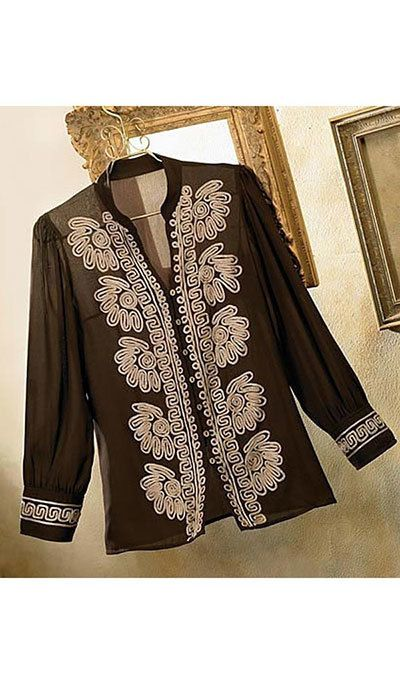 Soutache Trim Blouse