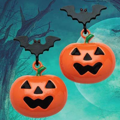 Pumpkin & Bat Earrings