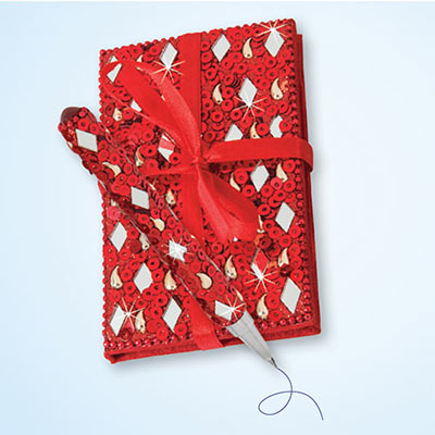 Red Bejeweled Notebook & Pen Set
