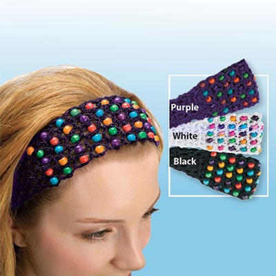 Colorful Crocheted & Beaded Headband
