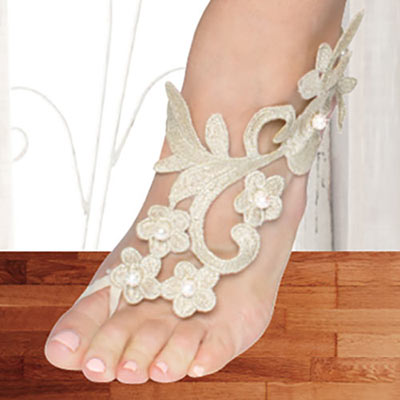 Golden Scroll Barefoot Sandals