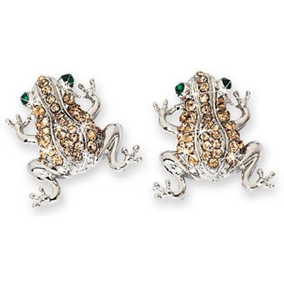 Pavé Frog Earrings