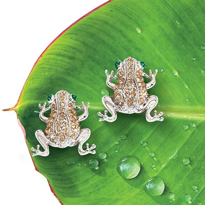 Pavé Frog Earrings