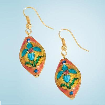 Flower Cloisonné Earrings