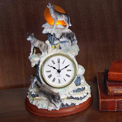 Howling Wolf Led Clock