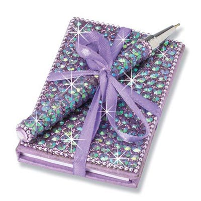 Purple Bling Bejeweled Notebook & Pen Set