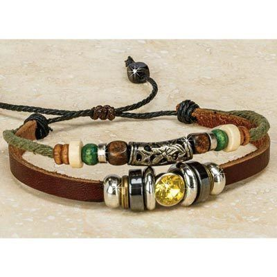 Sunrise Bejeweled Leather Bracelet