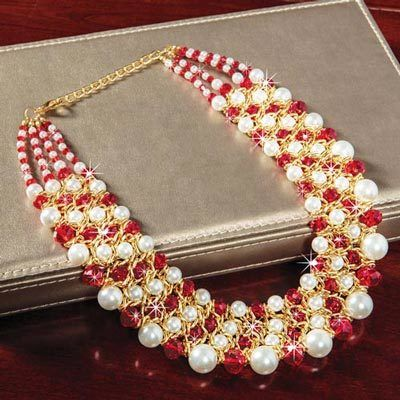 Shimmering Ruby & Pearl Necklace