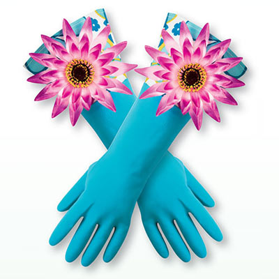 Flowery Kitchen Gloves