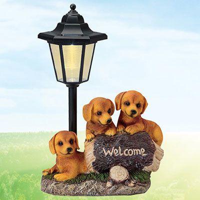Welcome Golden Puppies Solar Lantern