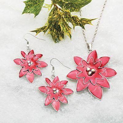 Poinsettia Jewelry Set