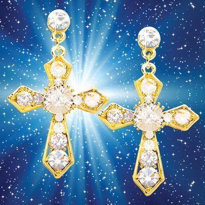 Dazzling Crystal Cross Earrings