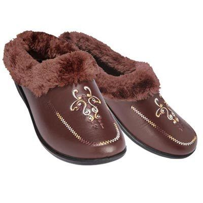 Faux Fur Trimmed & Embroidered Clogs