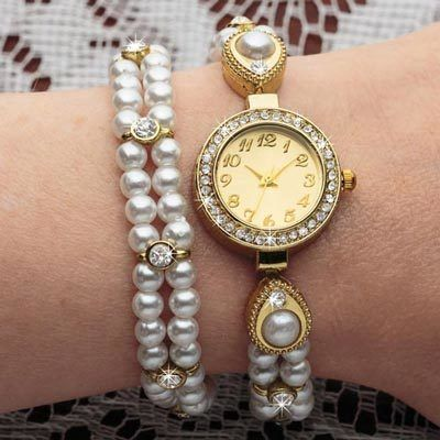 Pearl & Bling Wrap Watch