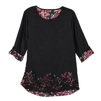 Sheer Floral Peek-A-Boo Blouse