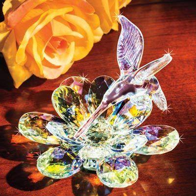 Hummingbird Dance Crystal Flower