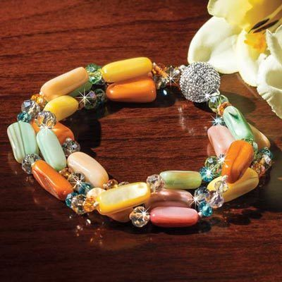Tropical Shell & Crystal Bracelet