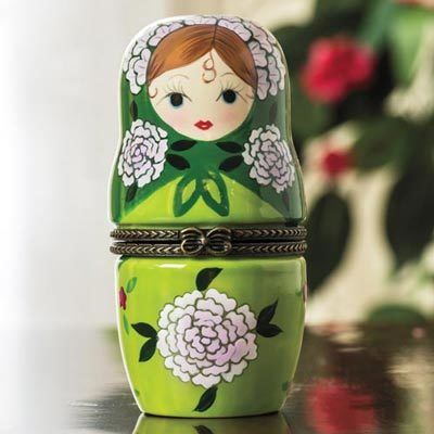 Pretty Babushka Trinket Box