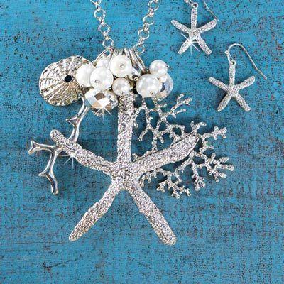 Silvery Starfish Jewelry Set