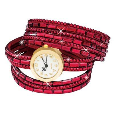 Red Bling Wrap Watch